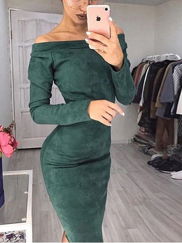 f03b36c87012 Suede Long Sleeve Off Shoulder Mid-calf Dress