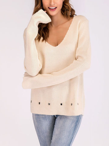 Women's Sweater Solid Color V Neck Loose Pullover