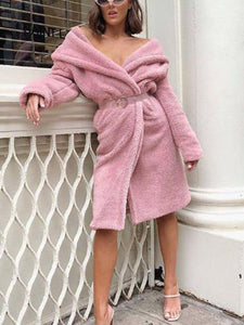 Long Sleeve Fluffy Solid Elegant Lapel Coat