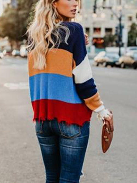 Striped V-neck Casual Loose Sweater - kattystory