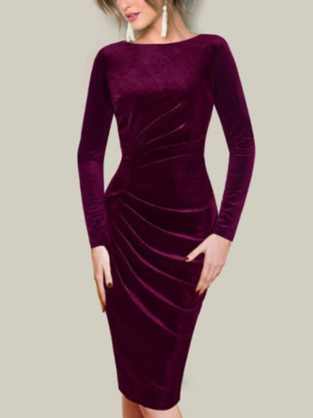 Long Sleeve Patchwork Round Neck Dress