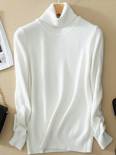 Women Thicken Pullovers Pull Femme High Neck Knitting Sweater