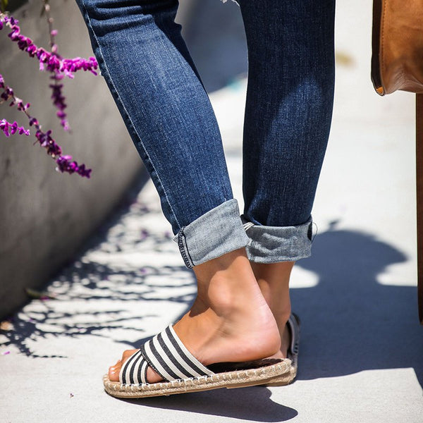 Stripe Summer Flat Heel Canvas Casual Slippers
