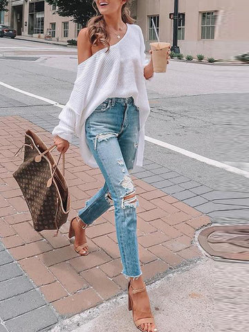 Casual Shift Long Sleeve Solid V Neck Sweater