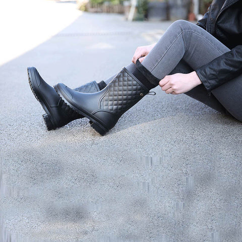 Refined High Gloss Quilted Short Waterproof Rain Boots
