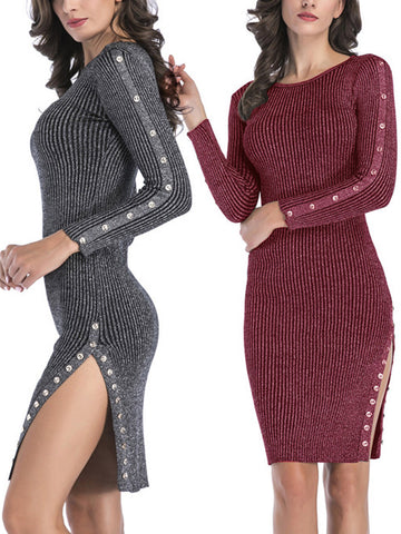 Shiny Sexy Long Sleeve Bodycon Dress