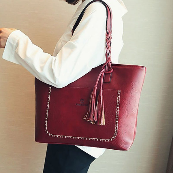 Large Capacity Women Messenger Bag Tassel Leather Handbag - kattystory