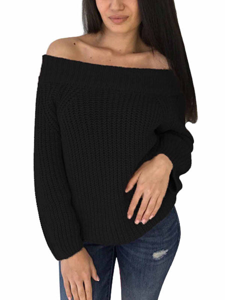 Sexy Slash Neck Trendy Loose Jumpers Pullovers Knitted Warm Sweater