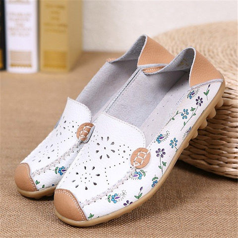 5 Colors Casual Floral Print All Season Ati-slip PU Slip-on Flat Heel Flats
