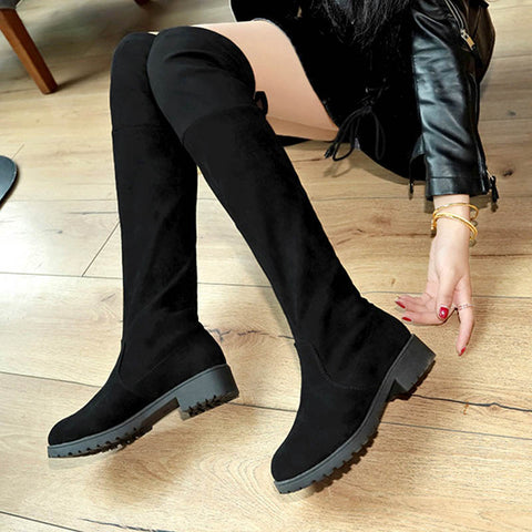 Black Low Heel Winter Knee-High Boots