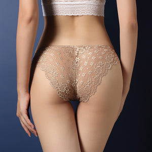 Soft Mid Waist Lace See Through Brief Panty