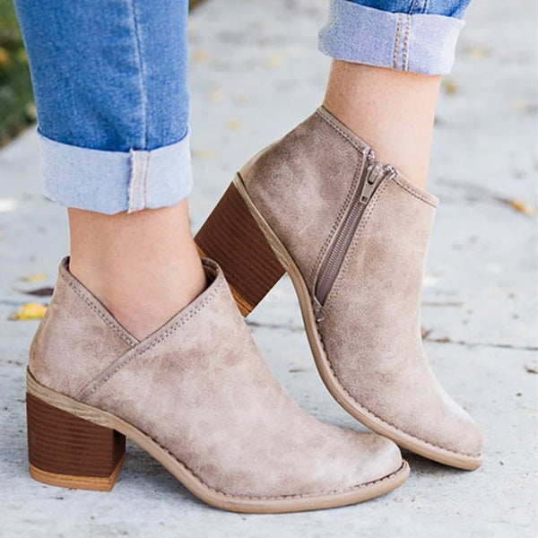 Women Leisure Booties Buckle Martin Boots with Zipper