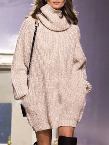 Casual Knitted Sheath Fall Sweater Dress - kattystory