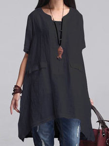 Solid Casual Short Sleeve Linen High Low Dress