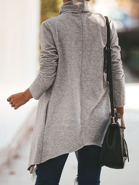 Casual Turtleneck Long Sleeve Asymmetric Coat