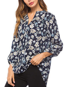 2 Color Casual Long Sleeve Floral Printed Shirt