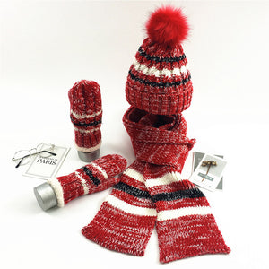 Kattystory Casual Striped Warn Knitted Fur Hat Scarf Gloves Set