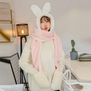 3 In 1 Sweet Rabbit Ear Hat Scarf Gloves