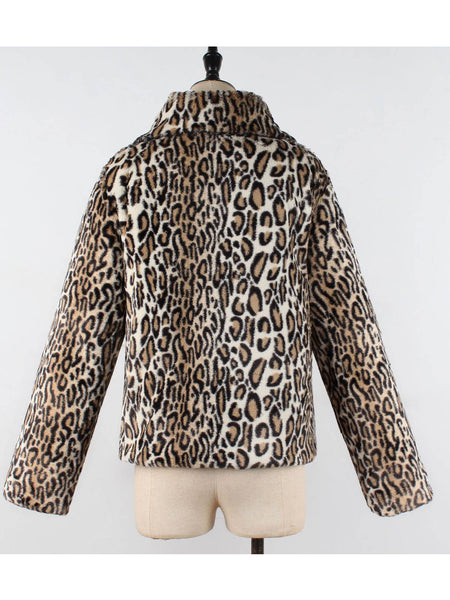 Shift Shawl Collar Leopard Coat
