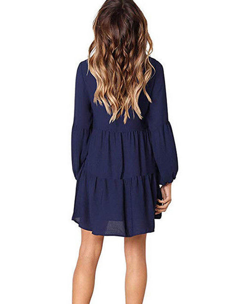 Women's Long Sleeve V Neck Casual Loose Ruffle Swing Shift Tunic Dress