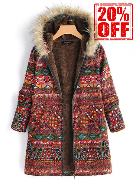 Plus Size Ethnic Printed Faux Fur Hooded Fleece Autumn Winter Coat