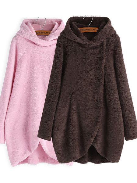 Buttoned Plain Casual Hoodie Coat