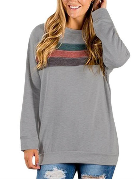 Women's Striped Sweatshirt Long Sleeve Loose Casual Tunic Top