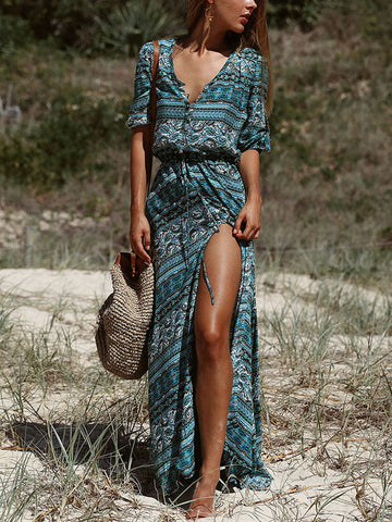 Women's Button Up Split Tribal Print Flowy Party Maxi Dress