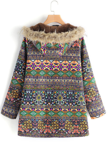 Plus Size Ethnic Printed Faux Fur Hooded Fleece Autumn Winter Coat - kattystory