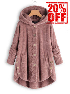 Buttoned Casual Solid Hoodie Coat