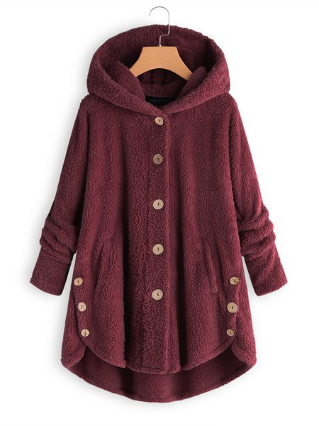 Buttoned Casual Solid Hoodie Coat - kattystory