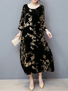 Crew Neck Velvet Casual Maxi Dress