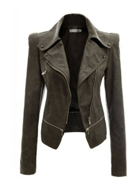 Black Casual Pockets Solid Faux Leather Bomber Jacket - kattystory
