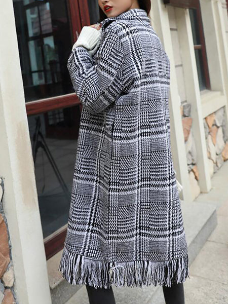 Casual Shift Lapel Long Sleeve Fringed Houndstooth Coat