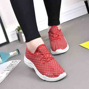 Mesh Fabric Breathable Sport Shoes Women Lace-up Comfy Sneakers