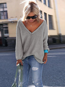 Autumn Winter V-Neck Pullover Women Sweater