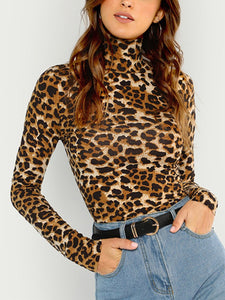 e119659c39a8 Office Lady High Neck Leopard Print Fitted Pullovers Top