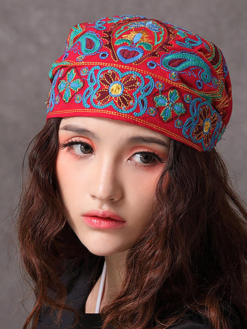 Women Embroidery Ethnic Cotton Beanie Hat Vintage Good Elastic Breathable Turban Cap