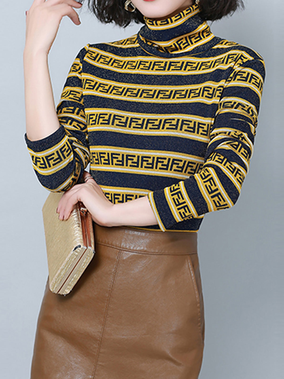 Striped Color-Block Ribbed Shimmer Turtle Neck Sweater