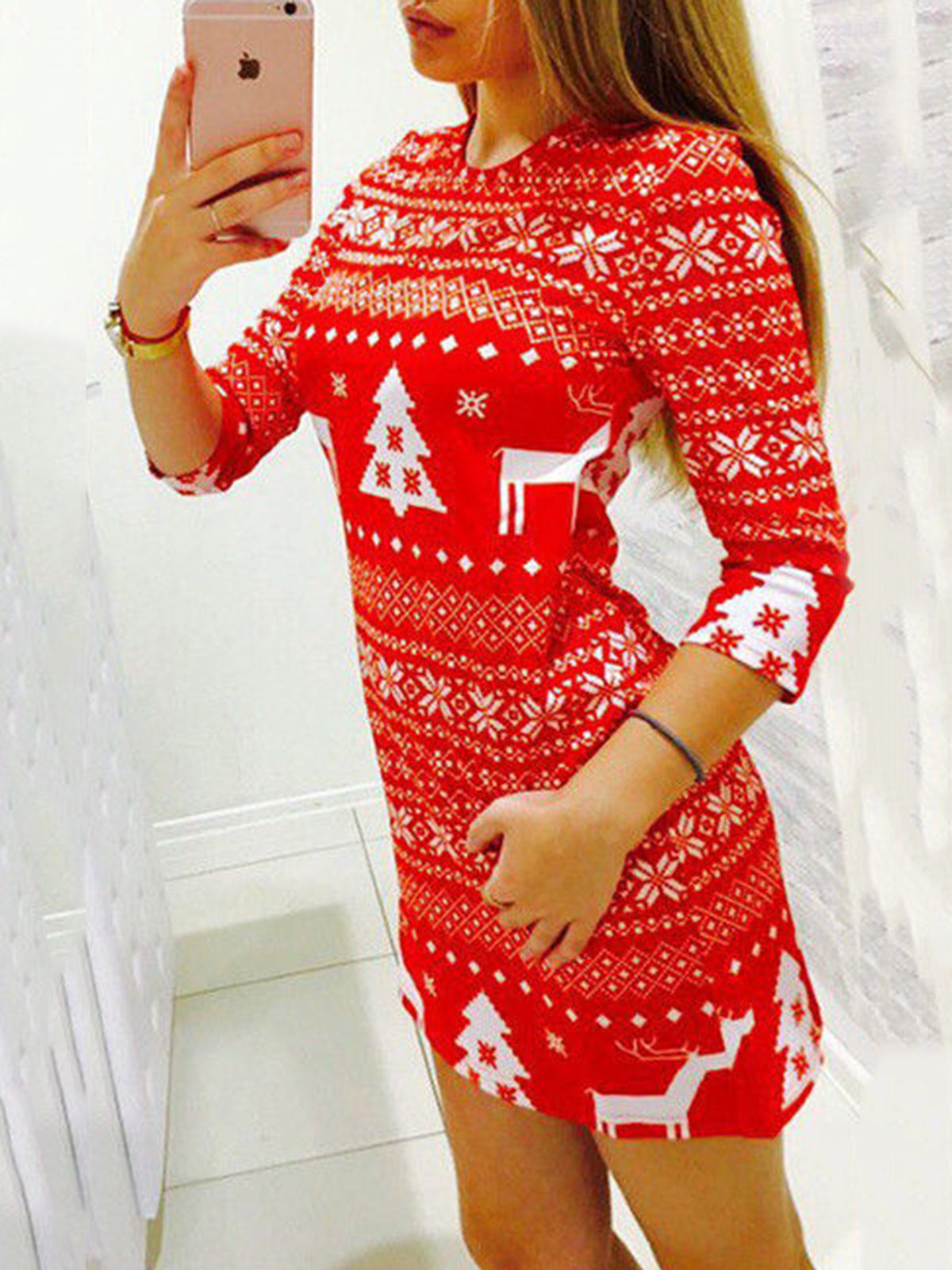 Christmas Sweater Pullover Knitwear Long Tops Dress - kattystory
