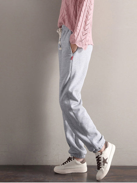Pockets Solid Cotton Casual Pants