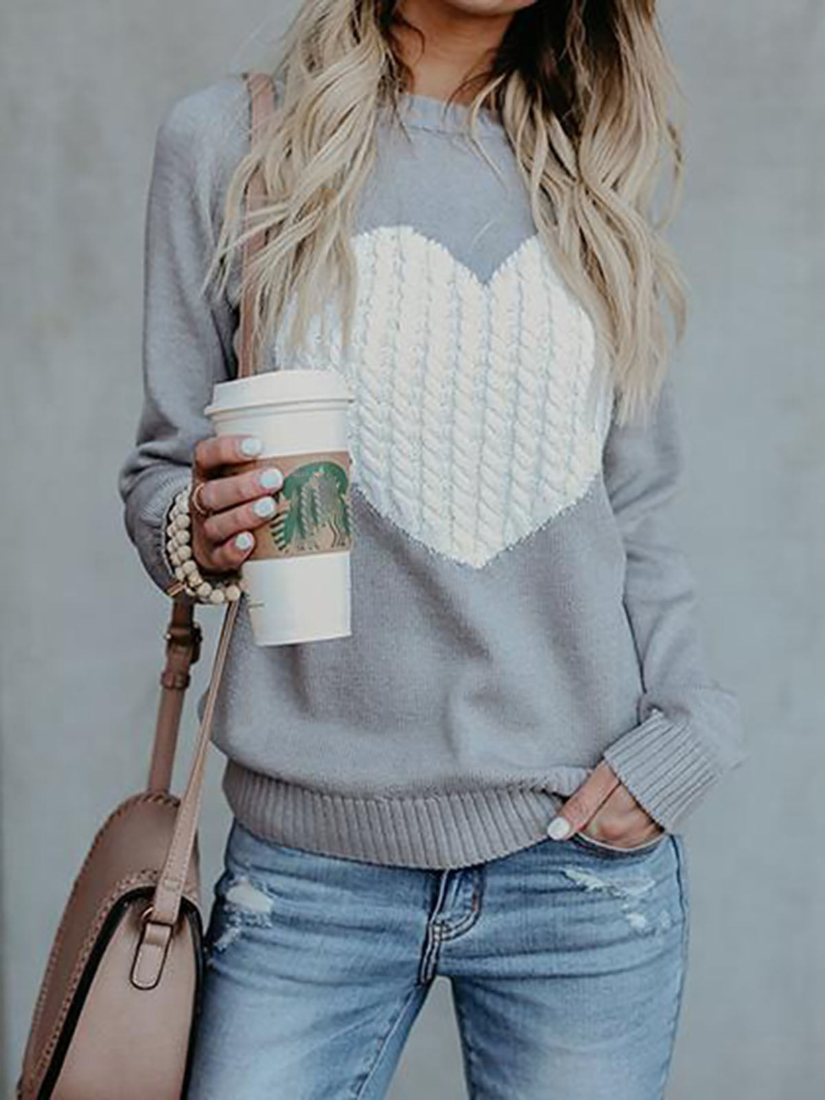 Geometric Knitted Basic Casual Crew Neck Sweater