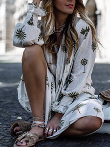 Boho V Neck Printing Casual Dress