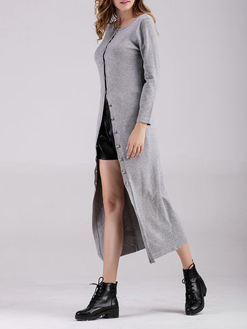 Long Sleeve Plain Casual Knitted Dress - kattystory