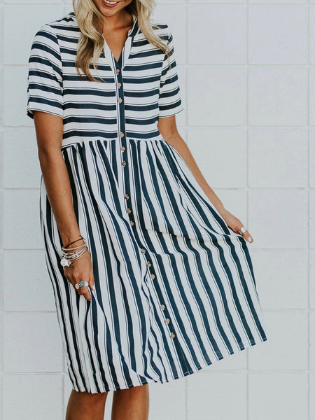 Casual A-Line V Neck Pocket Striped Dress