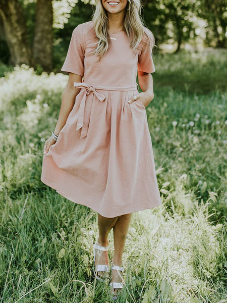 Casual Solid Short Sleeve Dress