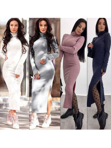 Women's Knitted Turtleneck Winter Bodycon Sweater Dress - kattystory