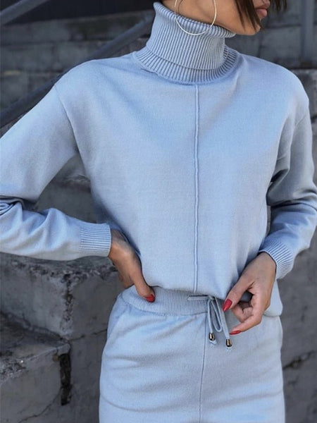 Knitted Tracksuit Turtleneck Sweatshirt 2 Piece Set