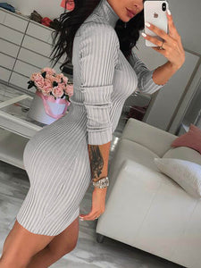 Women Winter Autumn Warm Turtleneck Knit Casual Long Sleeve Sweater Mini Dress