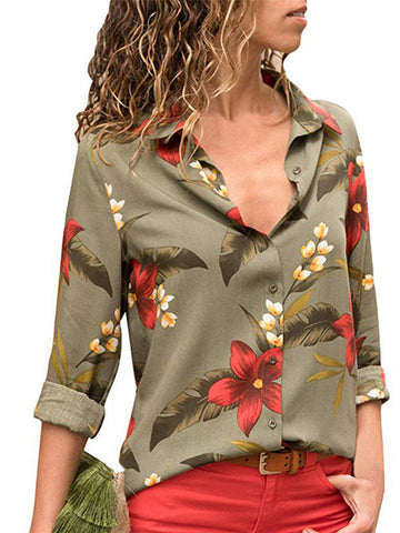 8 Color Floral Print Long Sleeve Turn Down Collar Shirt